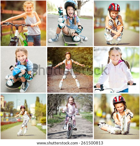photo collage of little girl riding a bike and skateboard rollers - stock photo