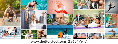 Photo collage of people sporting lifestyle - stock photo