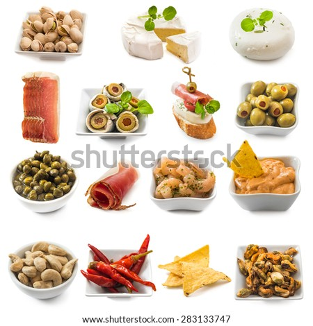 photo collage of spanish tapas  isolated on white  - stock photo