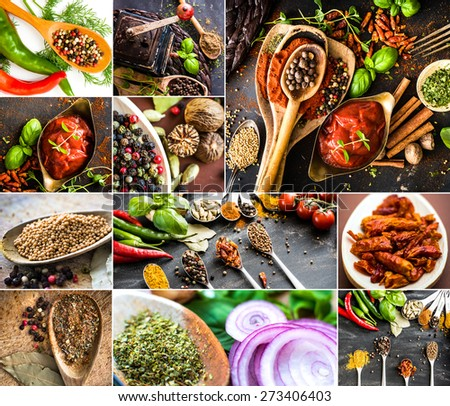 photo collage of various spices, fresh and dried - stock photo