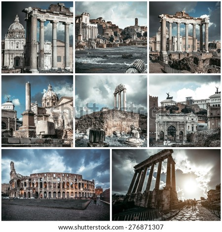 Photo collage of view of the Roman Forum, Italy - stock photo