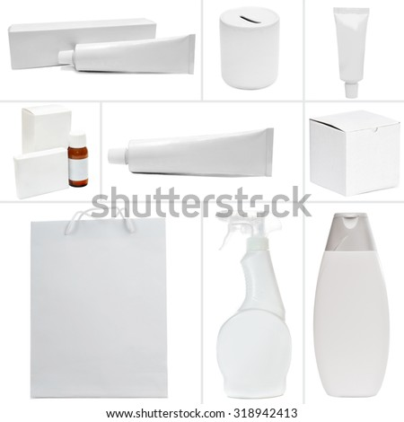 Photo collage of white packing isolated on a white background - stock photo