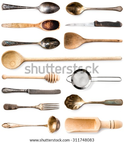 photo collage of wooden or metal kitchen utensils isolated on white background - stock photo