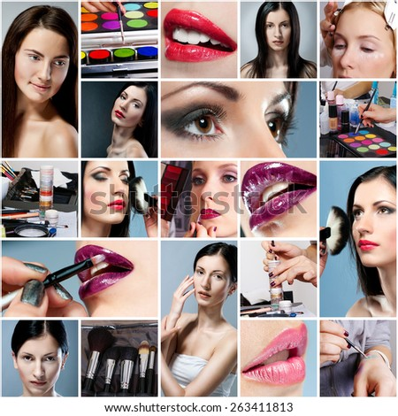 photo collage on the of make-up  theme  - stock photo