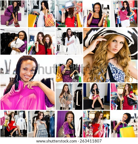 photo collage on the theme of shopping - stock photo