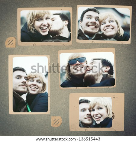 Photo collage vintage album couple in love smiling laughing and posing man and woman - stock photo