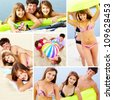 Photo collection of happy teenage friends having summer rest - stock photo