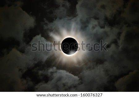Photo composition of nebulae and black hole. - stock photo