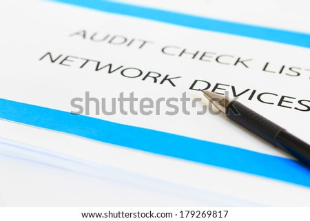 Photo concept of Audit Check list Network Devices - stock photo
