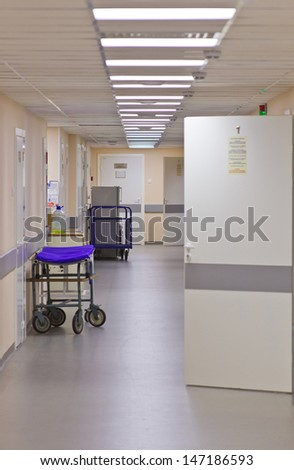 Photo corridor in Oncology Center - stock photo