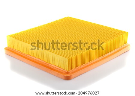 Photo engine air filter on a white background. - stock photo