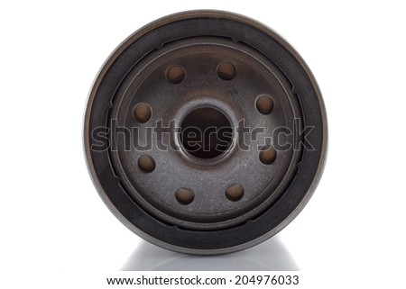 Photo engine oil filter on a white background. - stock photo