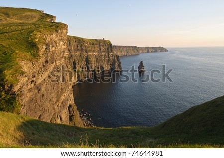 photo famous cliffs of moher, sunset, county clare, ireland - stock photo
