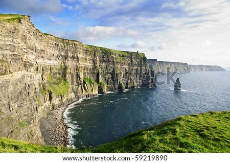 photo famous cliffs of moher sunset, west coast of ireland - stock photo