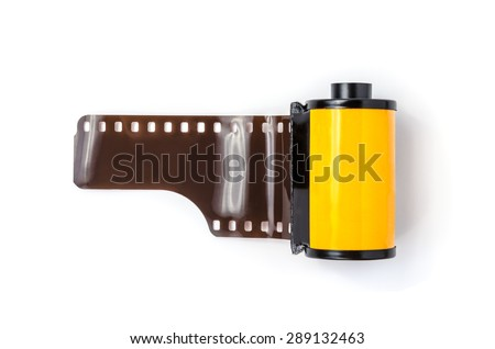 photo film in cartridge isolated on white - stock photo