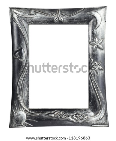 photo frame and painting isolated on white background - stock photo