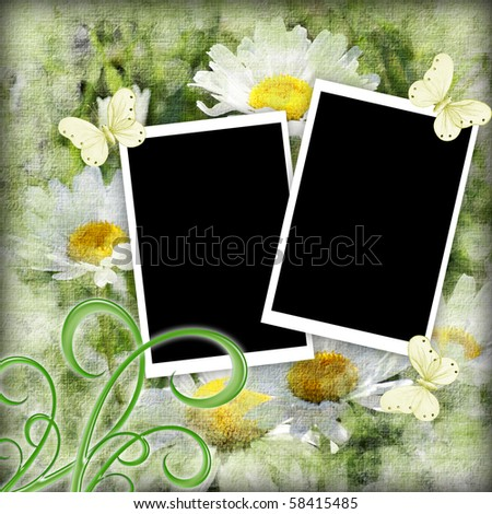Photo Frame for summer memories with daisies - stock photo