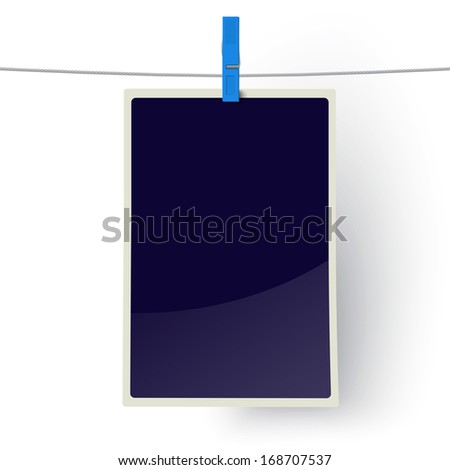 Photo frame hanging on a line. Raster version illustration. - stock photo