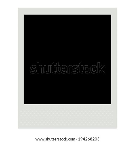 Photo frame template isolated on white background. Instant film. Raster version. - stock photo