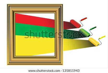 Photo frame with artist's tools isolated on white - stock photo