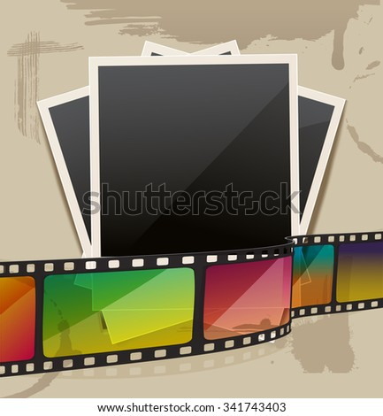 photo frame with filmstrip on stains carton background. JPG version - stock photo