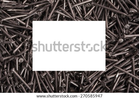 Photo Frame with nails isolated on white - stock photo