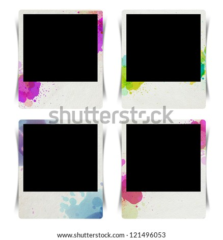 Photo frame with watercolor splatter isolated on white background, (Save Paths For design work) - stock photo