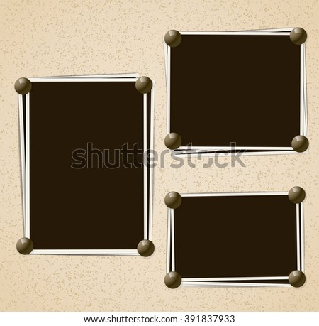 Photo frames composition with pins on retro background. Raster - stock photo