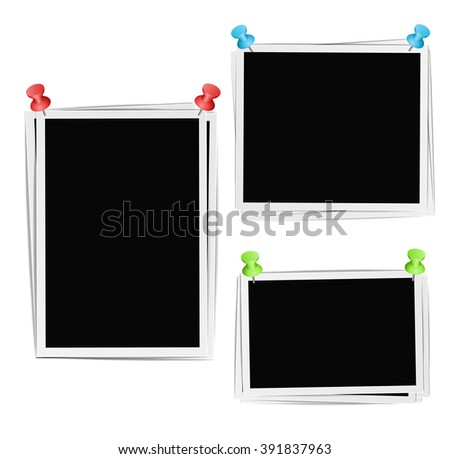 Photo frames composition with pushpins on white background. Raster - stock photo