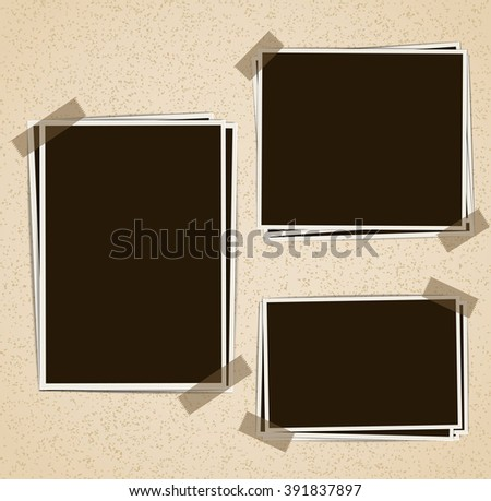 Photo frames composition with tape on retro background. Raster - stock photo