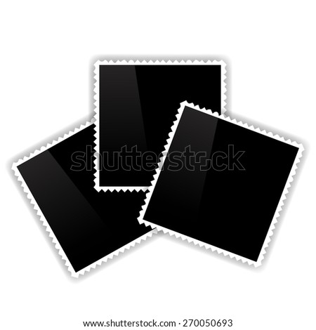 Photo Frames Isolated on White Background. Empty Vintage Photo Frames. - stock photo