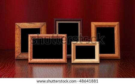 photo frames on red background - stock photo