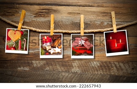 Photo frames with christmas decoration - stock photo