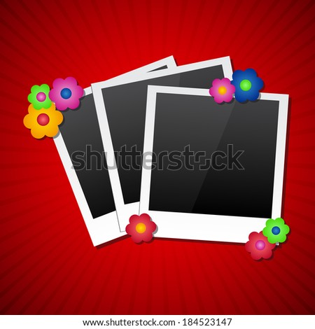 Photo frames with colored flowers (Vector version is also available in my portfolio, ID 129765245) - stock photo