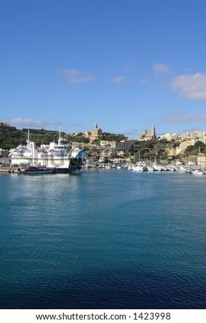 Photo from a ferry Malta-Gozo - stock photo