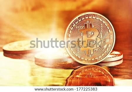 Photo Golden Bitcoins (new virtual money )  - stock photo