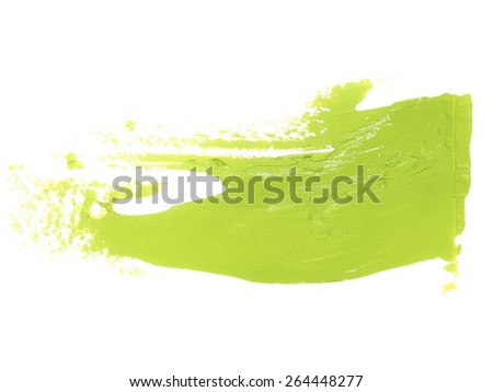 photo green grunge brush strokes oil paint isolated on white background - stock photo