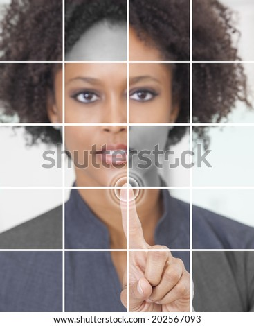 Photo grid montage of a successful african american businesswoman pressing a graphic symbol on a touchscreen.  - stock photo