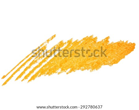 photo grunge yellow wax pastel crayon spot isolated on white background - stock photo