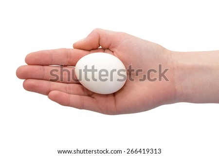 Photo hands with chicken eggs top view. Can be used as a template for coloring Easter eggs. Can be used as a template for coloring Easter eggs - stock photo