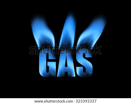 Photo illustration of natural gas featuring clean blue flames. - stock photo