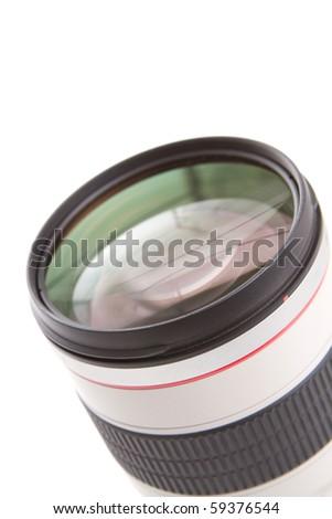 Photo lens with reflections on white background - stock photo