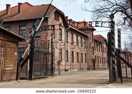 photo main gate entrace into the death camps in poland - stock photo