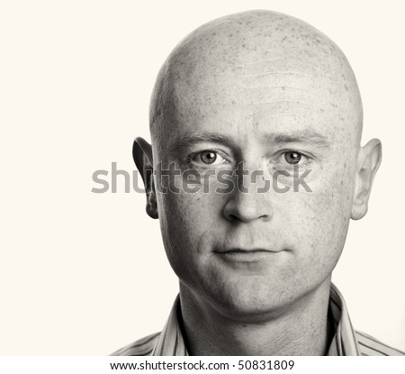 photo male b&w portrait close up on white backdrop - stock photo