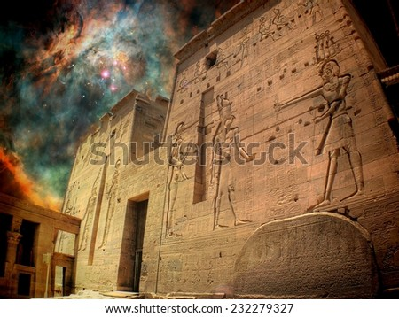 Photo-montage of Isis Temple at Philae island and a star-birthing region in the Orion Nebula (Elements of this image furnished by NASA) - stock photo
