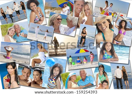 Photo montage of people happy men women children families and couples, young senior and elderly having fun on summer holiday vacations at the beach, swimming walking, surfing and relaxing - stock photo