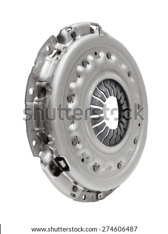 Photo new clutch basket isolated on white background. car parts - stock photo