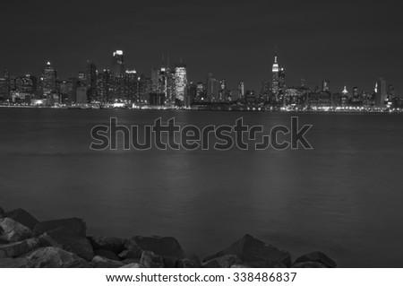 photo new york city skyline at night, midtown nyc - stock photo