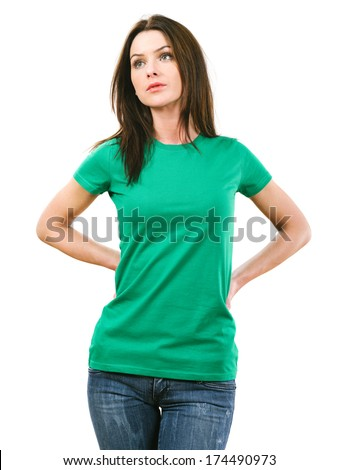 Photo of a beautiful brunette woman with blank green shirt. Ready for your design or artwork. - stock photo