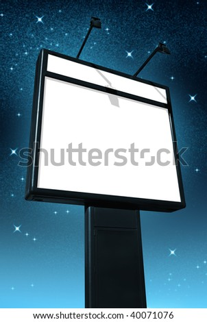 Photo of a big blank billboard against a starry sky at night - stock photo